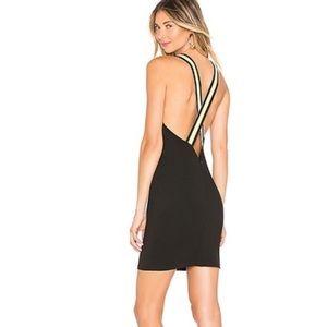 By the Way Black Mini Dress Yellow Back Straps